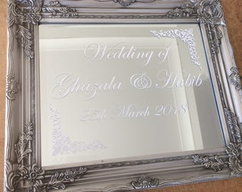 Mirror wedding welcome sign or order of the day sign! (Silver or white antique frame)