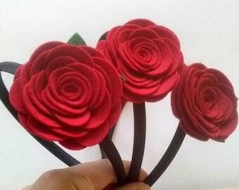 Red Rose headband, Red flower headband, Women hair accessory, Headband for women, Adult Headband Wool Felt flower headband