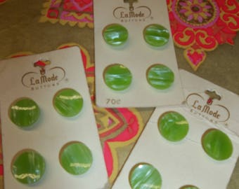 Vintage Buttons Lite Green 3 Cards