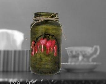 Bleeding Heart Flower Glass Vase Green