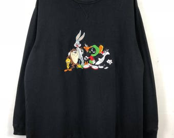 "Vintage Warner Bros Anime Cartoon Looney Tunes Sweatshirt Jumper Big Logo Black Color Streetwear Clothing Xlarge Size Chest 26.5"""
