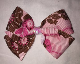 Pink and brown flowered hair bow