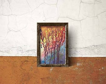 Abstract Painting Mixed Media Contemporary Fine Art Modern Rainbow, Red Orange, Yellow, Green Blue Purple, Original Painting on Canvas Paper