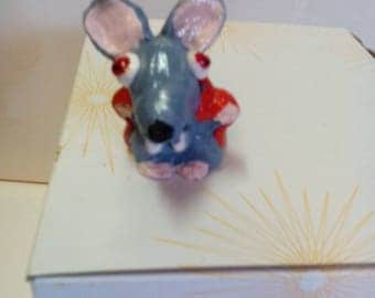 Mouse grey vampire Halloween polymer clay.