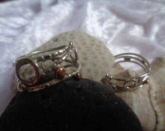 925 silver thread rings with details and boliyas in copper