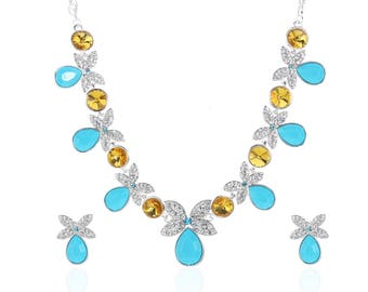 Luxurious Butterfly Crystals Necklace Set