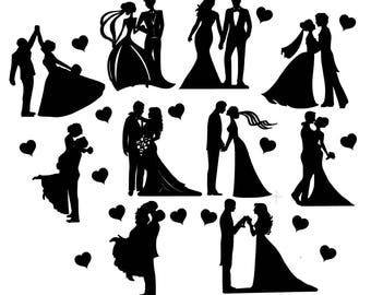 Engagement couple silhouette cutout assorted couples shape die wedding silhouette die cut assorted couples topper x 10 great for wedding craft cardmaking scrapbooking embellishments wedding lantern junglespirit Gallery