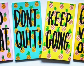 Pineapple Wall Canvas Art - Word Painting - Inspirational Painting - Motivational Painting