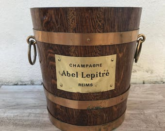 Vintage French Champagne French Ice Bucket Cooler wood copper signed 17011819