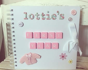 Personalised Baby Scrapbook • Baby Girl Gift • Baby Shower Gift • New Born Gift