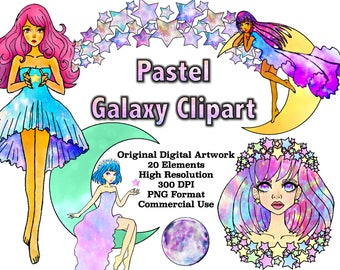 Pastel Galaxy Clipart, Galaxy Girl Clipart Moon and Stars Clipart Moon png Stars png Space Clipart Space Digital Moon Vector, Commercial Use