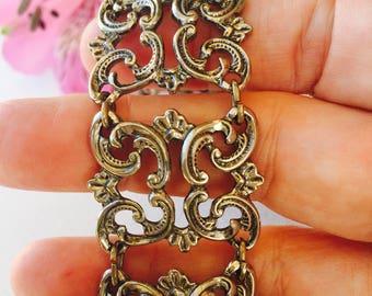 VINTAGE 1950's SCROLL DESIGN Bracelet, Silver Tone - Very Ornate