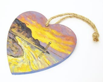 oil painting // wooden heart sunset at sea // hand-painted decorative item // inspired by a monet painting