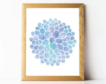Dahlia Flower Print PRINTABLE | Dahlia Bouquet Print | Watercolor Dahlia Print | DIGITAL DOWNLOAD | Blue Flower Print Printable | Dahlia Art