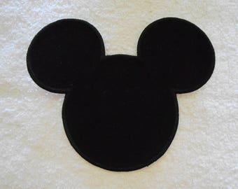 Black Mickey Mouse Iron on Applique Patch