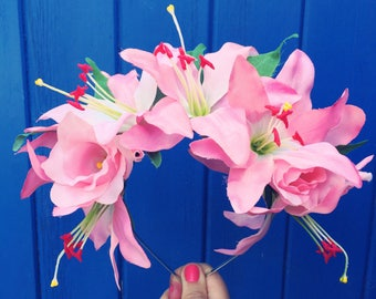 Pink Lily Headband, Pink Crown, Lily Hair Flowers, Lily Flower Crown, Wedding Headband, Statement Headpiece, Fairy Headband, Bride Headdress