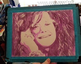 Original watercolor Janis Joplin Painting