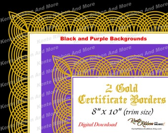 DIY - 2 Printable Gold Border Certificate Border Templates in Black and Purple - Trim Size 8x10 (Page 8.5x11) - Zip File Download in JPG PNG