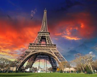 Colorful Eiffel Tower canvas, Paris France canvas, Large Eiffel Tower wall art Print, wall art, Canvas gifts, art, Colorful wall canvas
