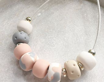 Polymer clay necklace , pink polymer clay necklace , girly necklace , chic necklace , pink and beige necklace , gift for her