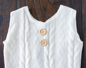 Baby Sitter Outfit-Photography Prop Size 9-12 Months-Off White Cable Knit-Sleeveless Henley Style