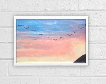 Sunset Watercolor Print