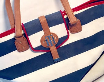 Vintage TOMMY HILFIGER Canvas Tote Bag Nautical Theme Leather Handles and Bottom