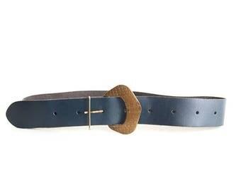 ON SALE Vintage Blue Leather Belt Genuine Leather Belt Dark Blue Belt Navy Blue Belt Bohemian Belt Leather Hip Belt Small Size Belt Medium S