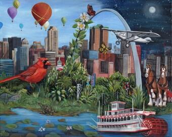 St. Louis Fine Art Print, Cityscape Original Art, Unique Gift, One of a Kind Fantasy Surrealism Spirit of St. Louis Cardinals Arch Riverboat