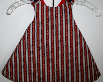 12 months, Red and Blue Flower Reversible Sundress with Red.