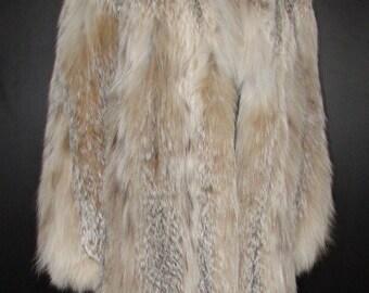 Superbe Alan Cherry couture real lynx  fur coat   sz small /Magnifique manteau de véritable fourrure de lynx naturel Alan Cherry   buste 38
