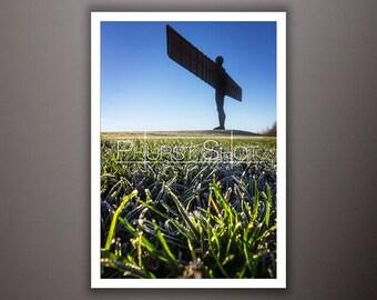 Landscape Angel of the north print, winter photography, Landscape shot, Fine art photography, frozen winter field photo, silhouette image