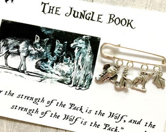 Rudyard Kiplings The Jungle Book Brooch, Literary Pin, Literary Jewellery, Animal Brooch
