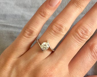 Solitaire with Swarovski gem crystal and silver