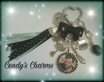 Fifty shades of grey rhinestone Ribbon keychain