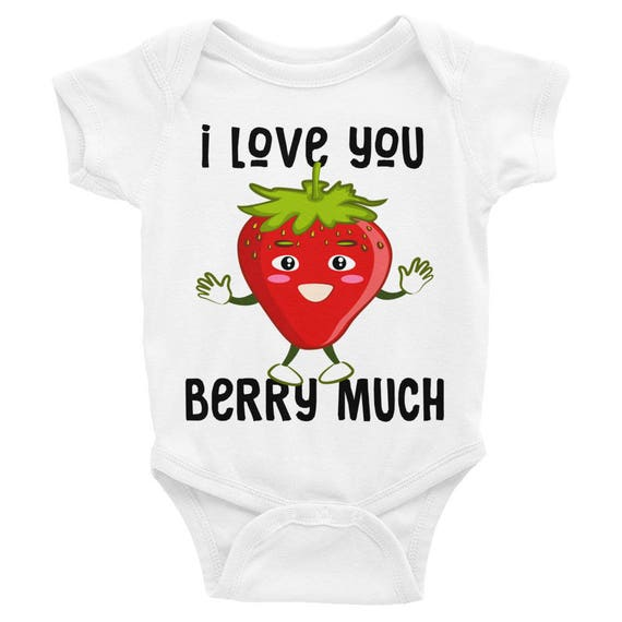 I love You BERRY Much Infant Bodysuit Funny Onesie | Infant Tee, Strawberry, Graphic Tee, Fashion T Shirt, Baby Tee,Baby Gift, Coming Home