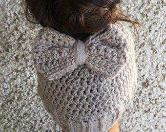 Messy Bun Hat w/ Bow, Crochet Bow Messy Bun Hat, Crochet Bow Hair Clip, Bow Hair Clip, Crochet Bow