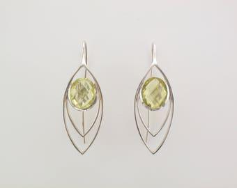 Silver Lemon Quartz Leaf Drop Earrings