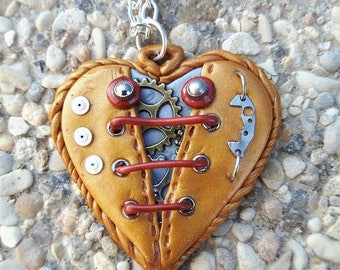 Gold polymer clay steampunk Heart Necklace