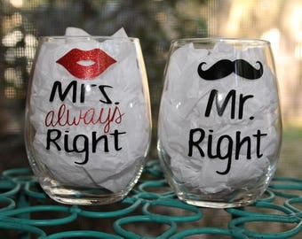 Mr. Right/Mrs. Always Right Stemless Wine Glass Set