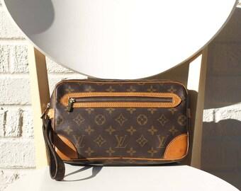 VINTAGE Authentic Louis Vuitton Monogram Marly Dragonne GM Clutch Bag Handbag Wristlets Purse Pouch Cosmetic LV YO3901