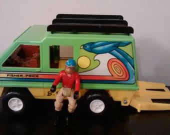 Vintage 1977 Fisher Price Adventure People Dare Devil Camper Van W/ Person