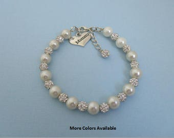 Custom Color Mommy Pearl & Pave Crystal Rhinestone Charm Bracelet-Mommy jewelry-Mommy gift-Mommy bracelet-Mother's day gift-Mommy, B748