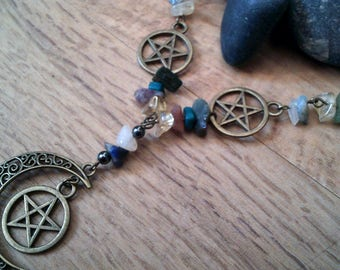 Antique Bronze Pentacle And Moon Gemstone Bead Necklace