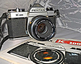 Pentax K1000 SLR 35mm Camera Vintage 50mm 1:2 Lens Case Instruction Hong Kong Working