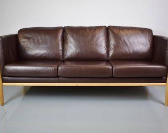 mid century retro danish dark brown leather 3 seat sofa settee couch oak frame
