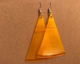 RARE Yellow Triangle Vinyl Earrings