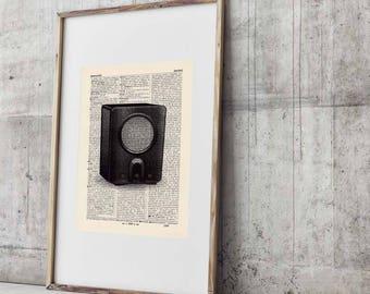 Adorable VINTAGE RADIO antique book page - portrait
