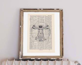 Print-Da Vinci-human-on antique page