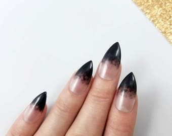 Gothic press on nails - Clear with a black smoke french tips - Any shape - Glue nail tabs - Coffin Stiletto Almond Oval Round